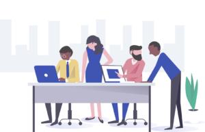 illustratie kantoor met vier mensen bij een vergadertafel
